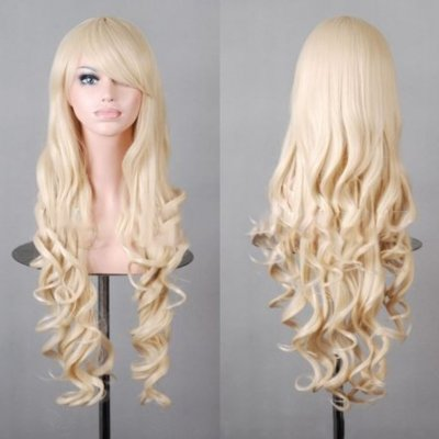 Wavy Hair Cosplay Long Wigs for Women Ladies Heat Resistant Synthetic Wig Roll gold