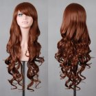 Wavy Hair Cosplay Long Wigs for Women Ladies Heat Resistant Synthetic Wig brown