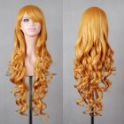 Wavy Hair Cosplay Long Wigs for Women Ladies Heat Resistant Synthetic Wig yellow