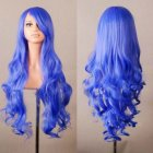 Wavy Hair Cosplay Long Wigs for Women Ladies Heat Resistant Synthetic Wig Volume fluorescent blue