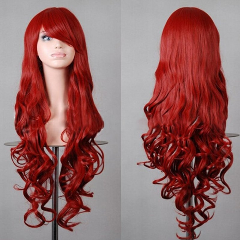 Wavy Hair Cosplay Long Wigs for Women Ladies Heat Resistant Synthetic Wig red