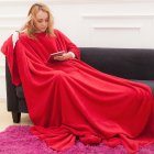 Wearable Fleece Blanket with Sleeves Pockets for Adult Women Men Wrap Throw Blanket