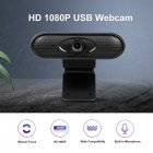 Webcam HD 1080p Camera USB  Web Cam MIC Clip-on for Computer Laptop Web Camera 360 Degree Usb Camera Black 1080P