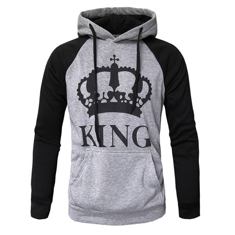 Wen and Women Couple Hooded Black and White Loose Pullover Shirt Light gray-KING_2XL