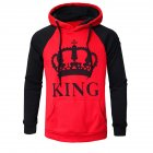 Wen and Women Couple Hooded Black and White Loose Pullover Shirt Red KING 2XL