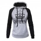 Wen and Women Couple Hooded Black and White Loose Pullover Shirt Light gray - QUEEN_M