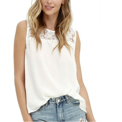 Western Style Women's OL T-Shirt Lace Stitching Floral Sleeveless Blouse Top White_XL