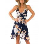 Western Stylish Floral Warp V-Neck Spaghetti Strap Casual Dress for Women
