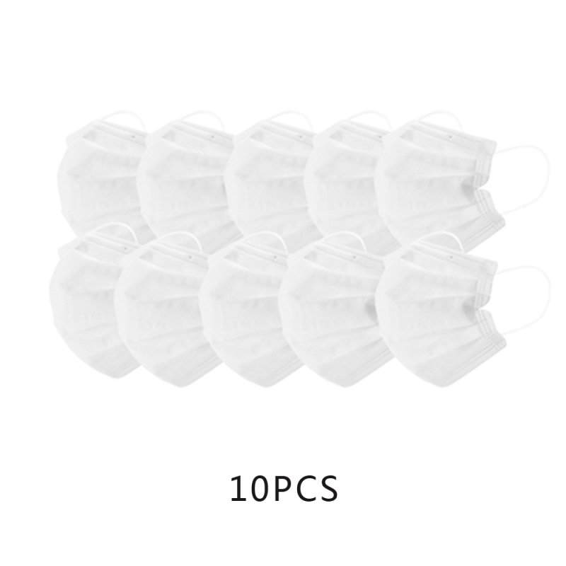 White Color Face Masks Disposable 3 Layers Dustproof Mask Facial Protective Cover Masks Set Anti-Dust Salon Earloop Mask white_10PCS