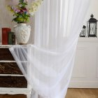 White Tulle Curtains for Bedroom Balcony Decoration Hanging Hook Style white 100   250cm