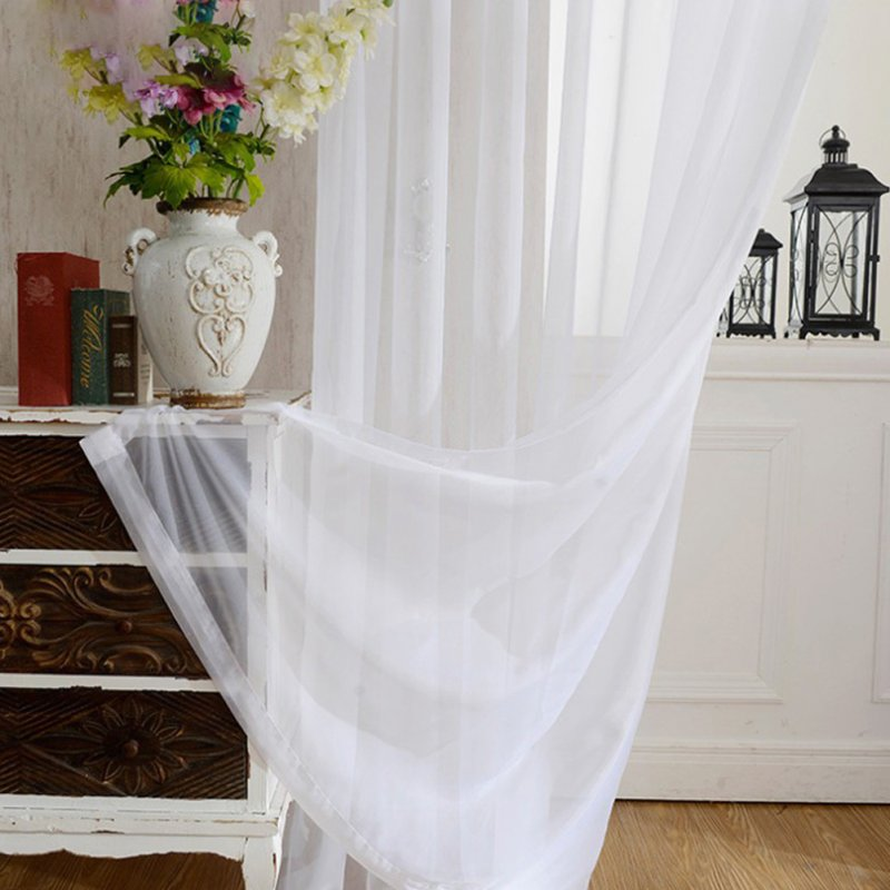 White Tulle Curtains for Bedroom Balcony Decoration Hanging Hook Style white_100 * 250cm