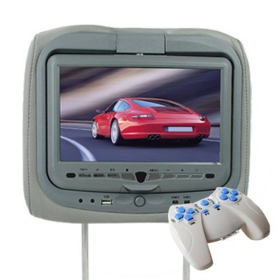 Car Headrest with DVD Player, Game System, and Media Card Reader