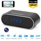 Wi-Fi Alarm Clock Camera 1080P Wireless Video Recorder with Motion Detection Night Vision Loop Recording European regulations black