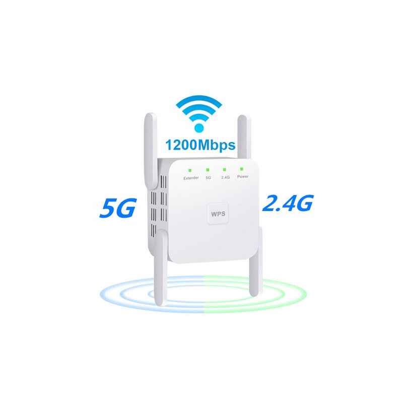 WiFi Amplifier 5G 1200Mbps  WiFi Router 2 External Antenna Wifi Range Amplifier Wifi 1200Mbps white US regulations