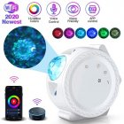 WiFi LED Night Light Projector Starry Projection Ocean Wave 6 Colors 360Degree Rotating Night Lamp white_With WiFi