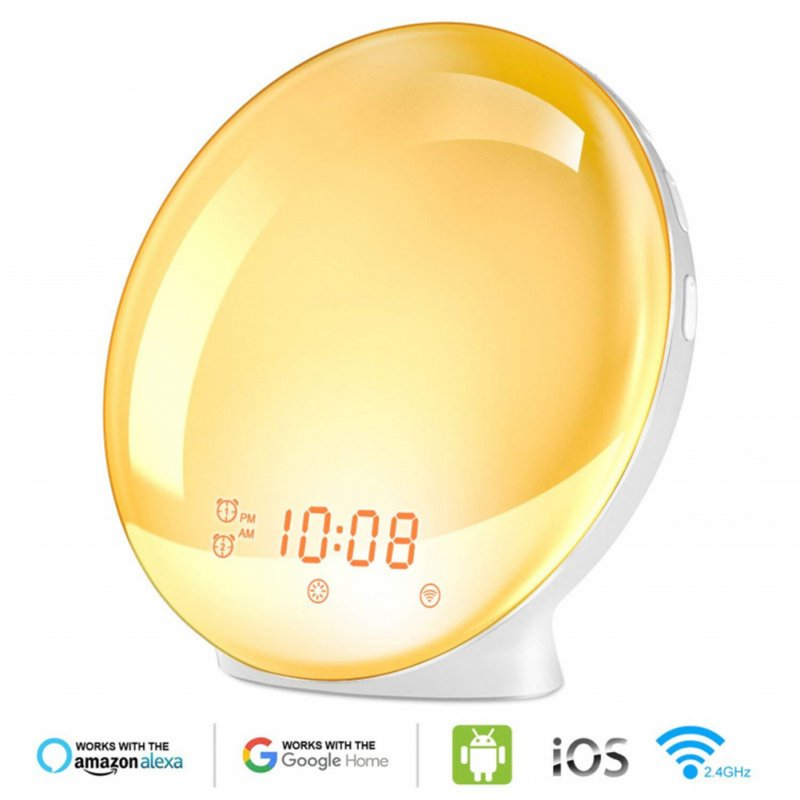 WiFi Smart App Voice Control LED 7 Colors Change Simulate Sunrise Sunset Awakening Alarm Clock British plug