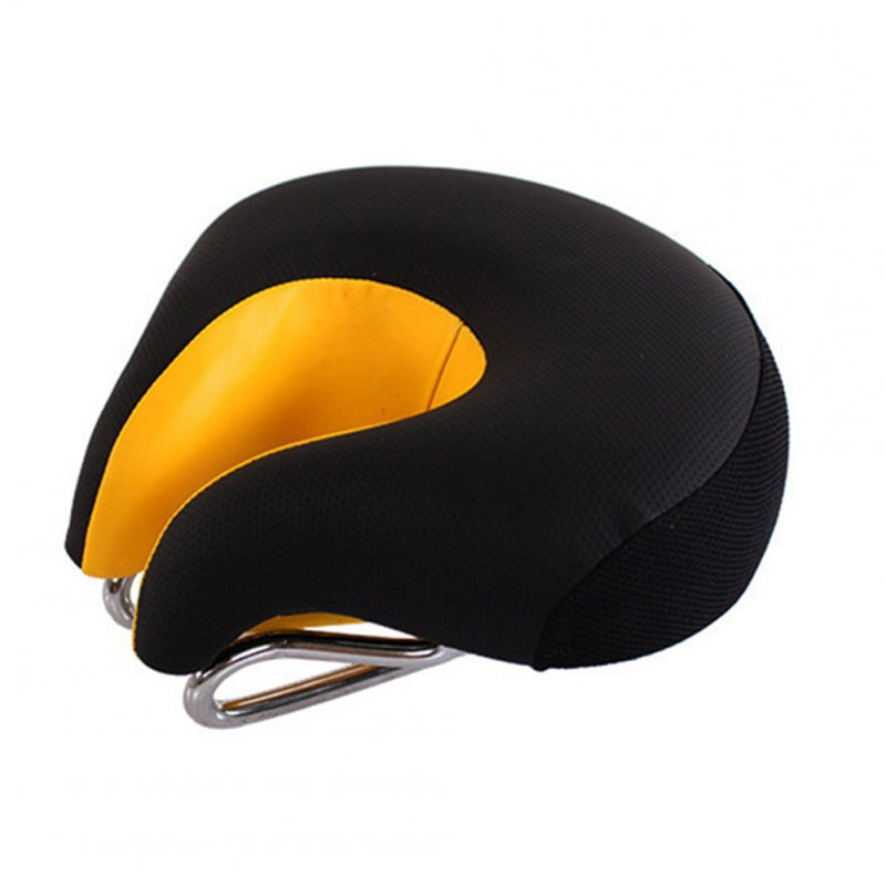 Wide Bicycle Bike Seat No Nose Mountain Bike Saddle Comfortable Cycling Saddle Cushion High Resilience Black orange_Average size