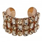 Wide Lxury Rhinestone Cuff Bracelets for Women Mun's Gift Golden