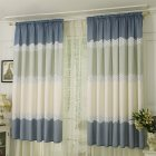 Wide Strip Semi Shading Window Curtain for Bedroom Living Room Rod Style blue_1*2 meters high