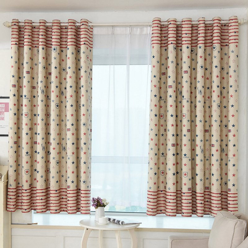 Window Curtain with Simple  Printing Balcony Living Room Bedroom Shading Drapes As shown_1.5m wide x 2m high punch