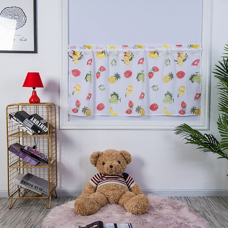Window Half Curtain Home Decoration Door Window Simple Kkitchen Drape with Fruit Printing Fruit kitchen curtain_W 100cm * H 50cm