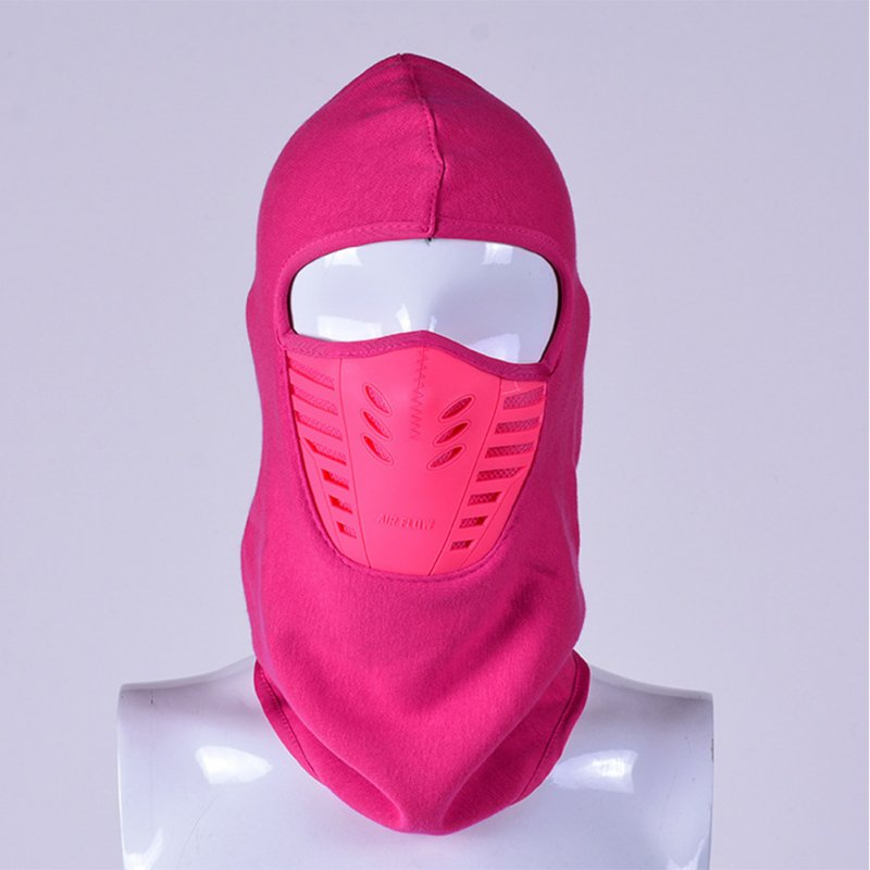 Windproof Fleece Neck Cover Winter Warm Hat Ski Full Face Mask Cycling Scarf CS Cap rose Red_L (58-60cm)