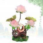 Wine Barrel Lotus Shape Decor Resin Crafts for Fish Bowl Aquarium Accessaries pink