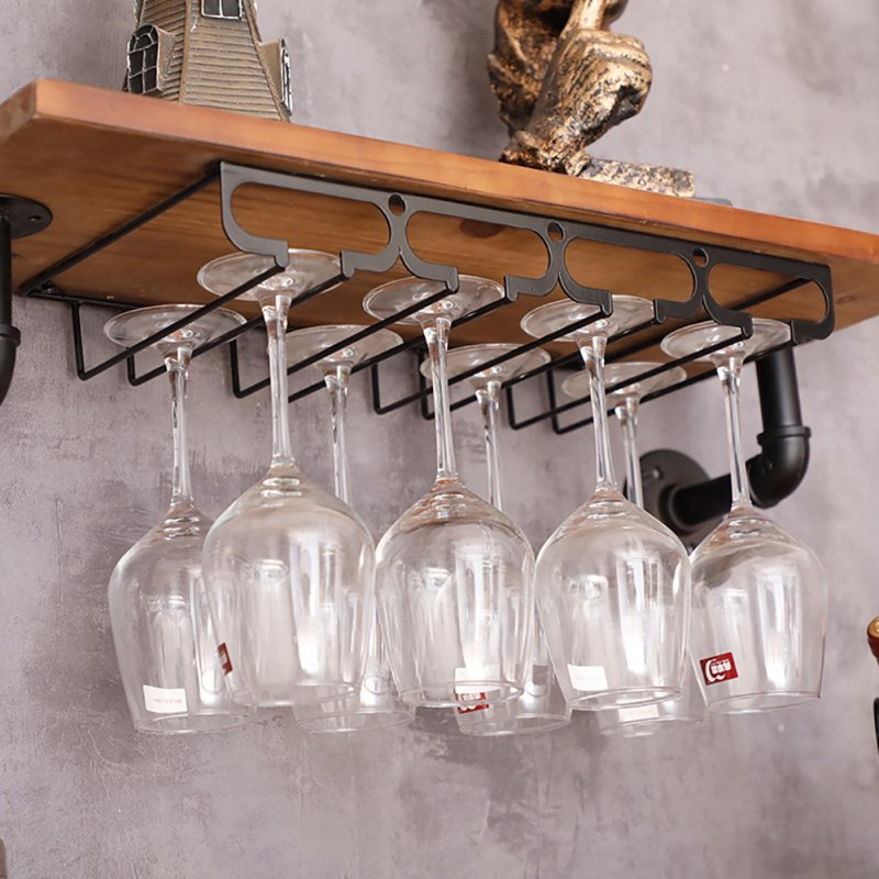 Wine Cup Holder Goblet Upside Down Wall Mounted Rack Glass Organization Shelf Stemware Storage 4 slots