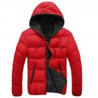 Winter Casual Outwear Windbreaker Slim Fit Hooded Overcoats Down Jackets for Man Red   black XL