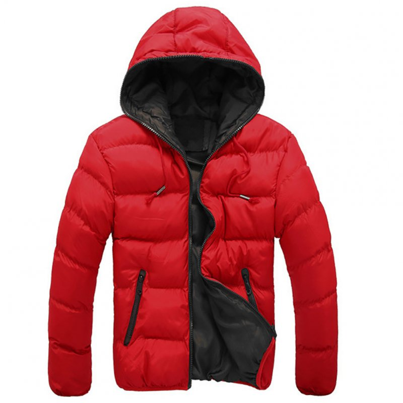 Winter Casual Outwear Windbreaker Slim Fit Hooded Overcoats Down Jackets for Man Red + black_XL