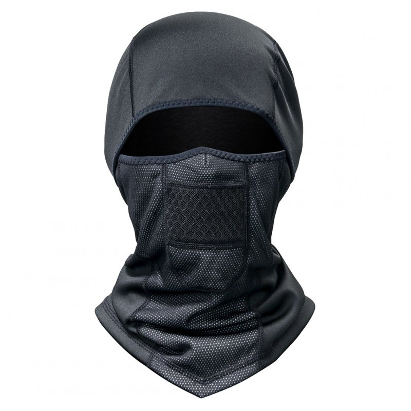 Winter Fleece Scarf Warm Full Face Mask Thermal Liner Sports Cycling Hat black_One size