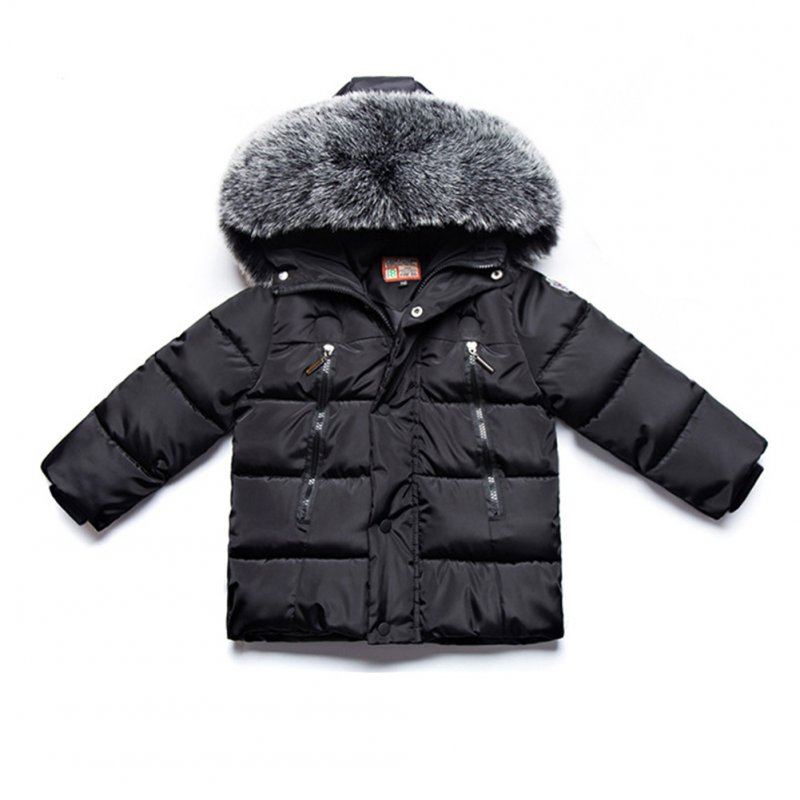 Winter Kid Thicken Cotton Hoodie Coat Furry Collar Zipper Boy Girl Overcoat black_110cm