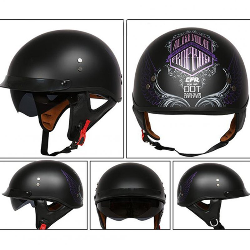 Retro Helemt Half Face Motorcylce Hat FRP Prince Helmet Asian Black Freedom Wing XXL