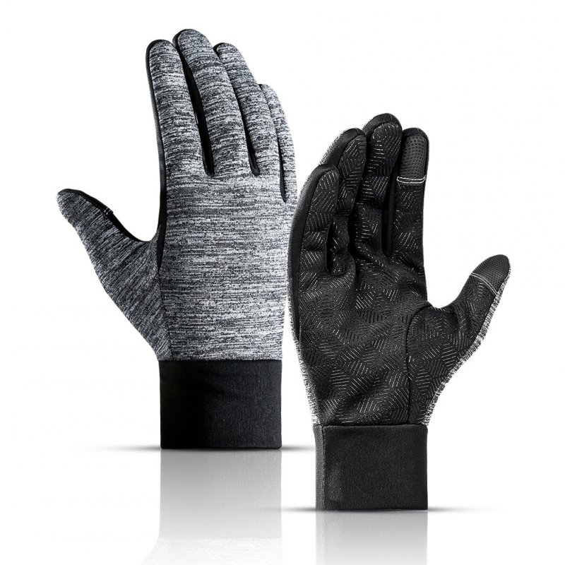 Winter Outdoors Sports Gloves for Women and Men Touch Screen Waterprood Windproof Warm Simier Gloves gray_M