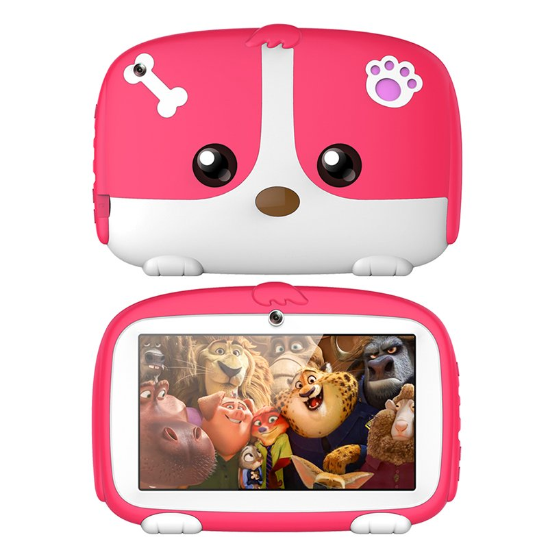 7inch Cartoon Puppy Tablet PC Android 4.4 1GB+8GB WiFi Dual Cameras LED Backlight Kid Laptop EU Plug Pink_1GB+8GB