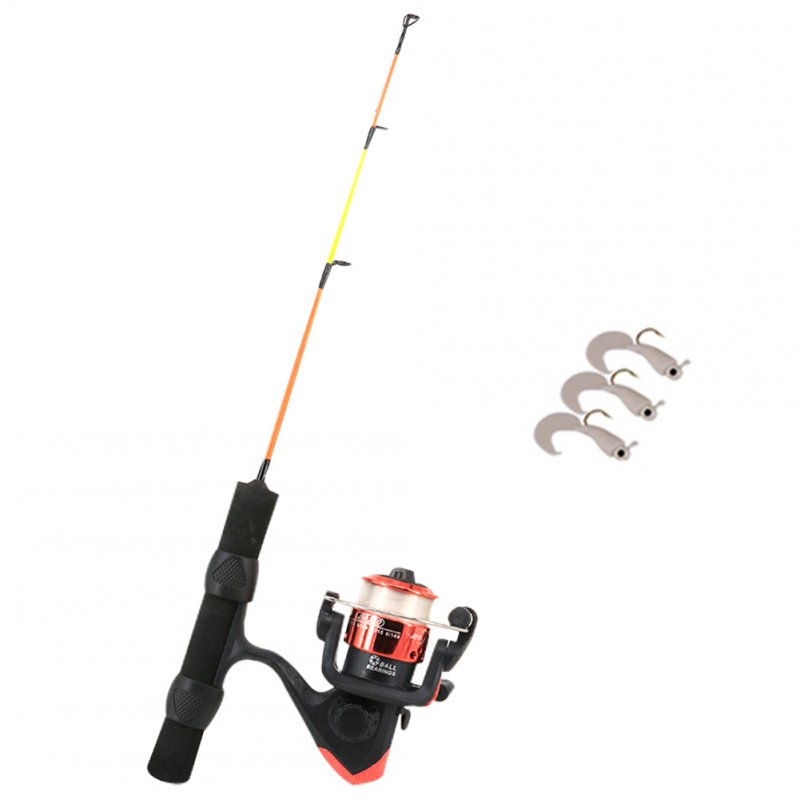 Winter Retractable 41/50cm Carbon Fishing Rod Set Lightweight Ice Fishing Telescopic Mini ice Fishing Reel Set 41cm black handle ice fishing rod set