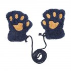 Winter Warm Fluffy Plush Bear Paw Claw Glove Novelty Halloween Soft Hanging Neck Half Finger Gloves
