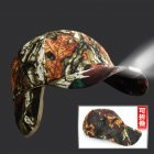 Winter Warm Outdoor Windproof Camouflage Cotton Hat LED Foldable Earmuffs Fishing Hats  green_adjustable