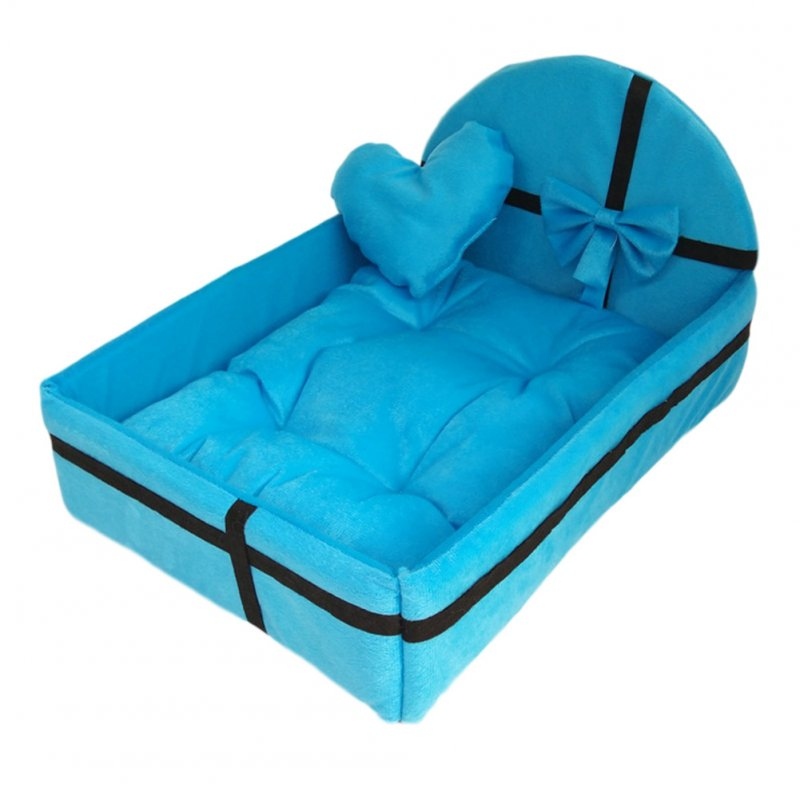 Winter Warm Pet Bed with Plush Cushion for Small Medium Dogs blue_M
