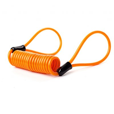 Wire Rope Spring Retractable Colorful Rubber Coating Portable Safety Elastic Motorcycle Helmet Anti-theft Rope 1.2Meter Orange