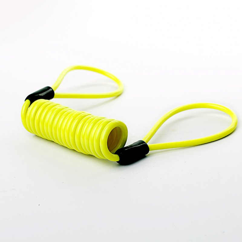 Wire Rope Spring Retractable Colorful Rubber Coating Portable Safety Elastic Motorcycle Helmet Anti-theft Rope 1.2Meter Fluorescent yellow