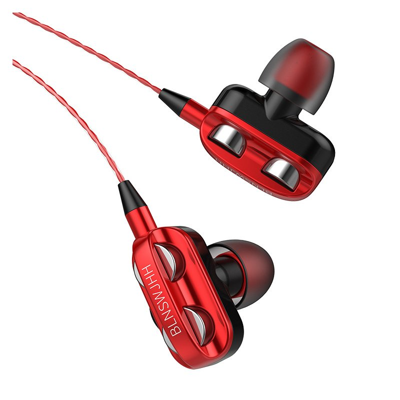 Wired Earphone HiFi Super Bass 3.5mm In-Ear Headphone Stereo Earbuds Ergonomic Sports Headsest Birthday Gift Red