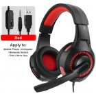 Wired Headset Head-mounted RGB Illusion with Lights Heavy Bass Earphones red