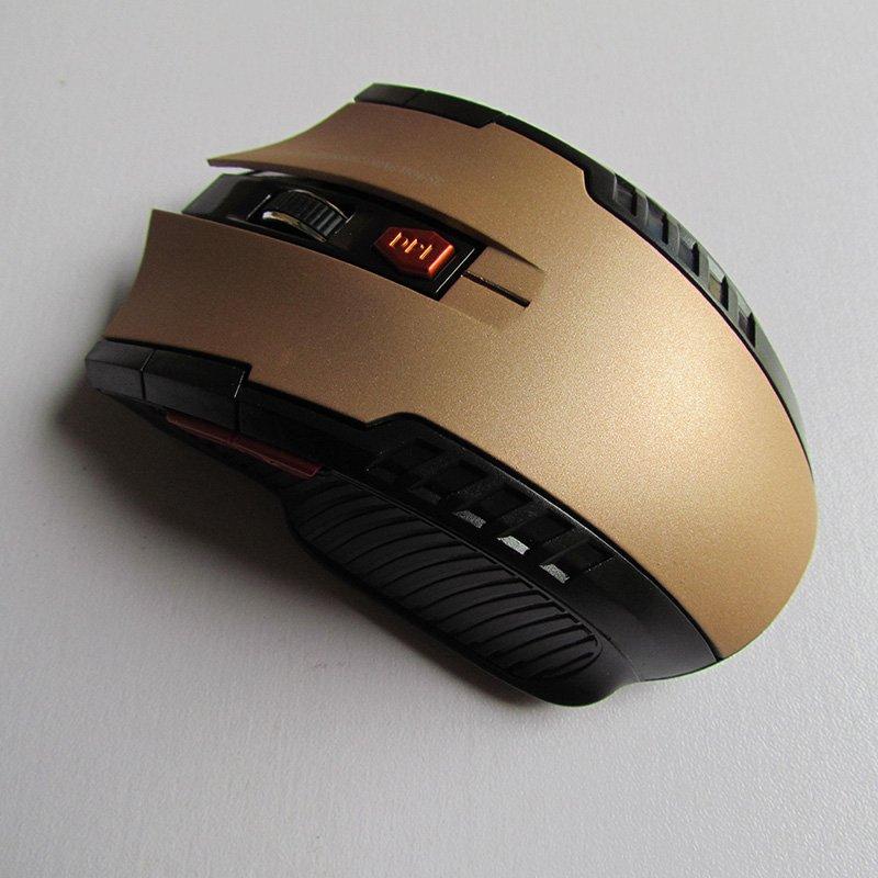 Wireless 2.4GHz Optical Mouse with USB Receiver for Video Game Console for Laptop Golden
