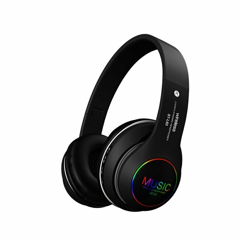 Wireless Bluetooth 5.0 Headphones Foldable Headset Earphones Noise Cancelling Sport Earphone black