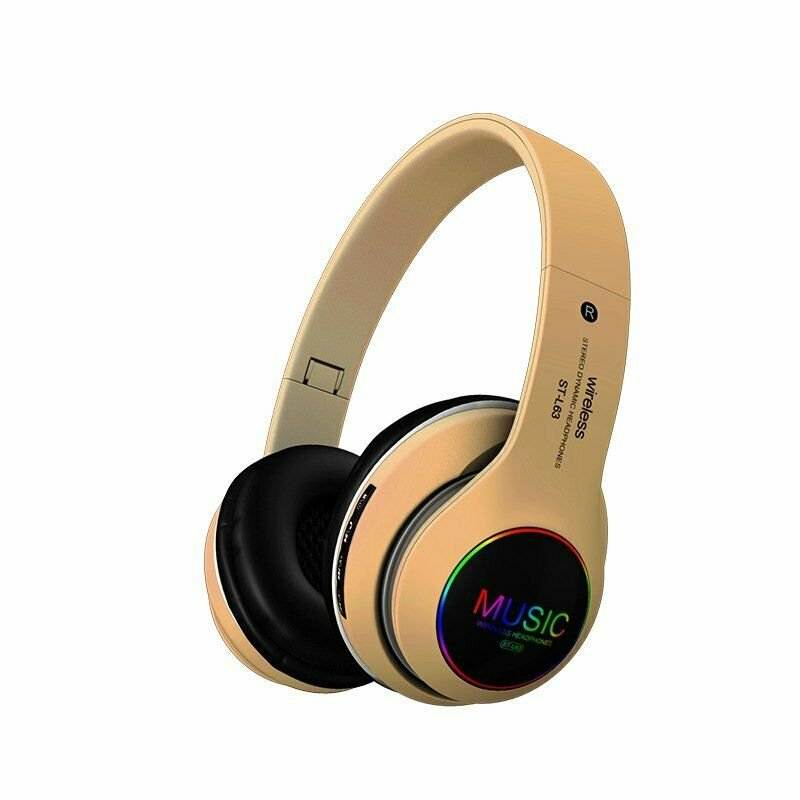Wireless Bluetooth 5.0 Headphones Foldable Headset Earphones Noise Cancelling Sport Earphone Golden