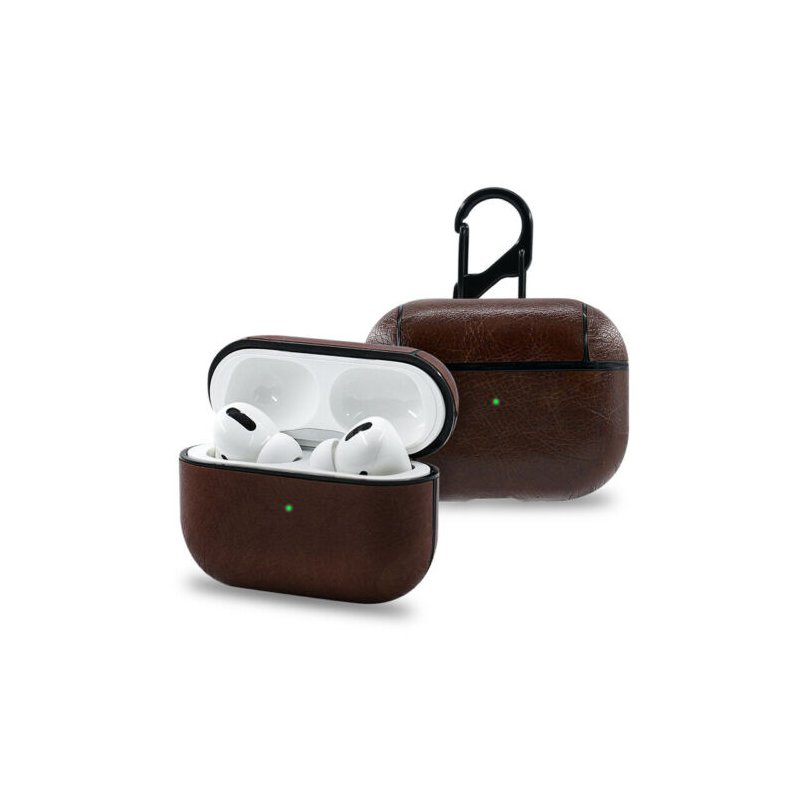 Wireless Bluetooth Earphone Cases For Apple AirPods Charging Headphones For Airpods Synthetic Leather Protective Cover Dark brown