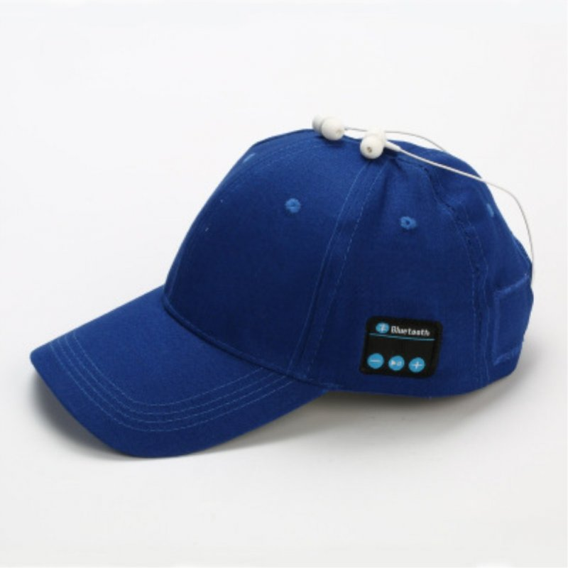 Wireless Bluetooth Earphones Sport Music Cal Baseball Cap Ourdoor Headset blue
