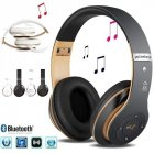 Wireless  Bluetooth  Headset Bluetooth 4.1 Earphone Long Lasting 6s Headset Usb Charging Black gold