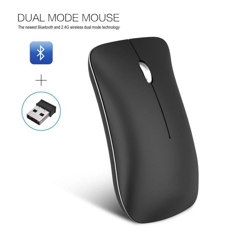 Wireless Bluetooth Mouse Rechargeable 2.4G USB Optical Vertical Ergonomic Dual Mode Mute Mouse black